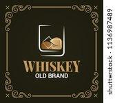 whiskey glass vintage label on... | Shutterstock .eps vector #1136987489
