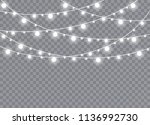 christmas lights isolated on... | Shutterstock .eps vector #1136992730
