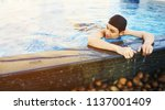 cheerful  handsome asian man... | Shutterstock . vector #1137001409