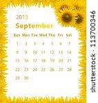 2013 Year Calendar  September...