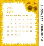 2013 Year Calendar  July With...