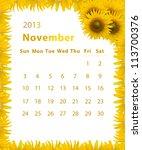 2013 Year Calendar  November...