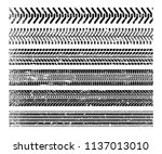 tire tracks set. black... | Shutterstock .eps vector #1137013010