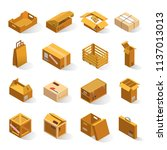 delivery boxes isometric.... | Shutterstock .eps vector #1137013013
