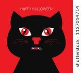 black cat. happy halloween.... | Shutterstock .eps vector #1137014714