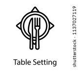 arranged cutlery on a desk... | Shutterstock .eps vector #1137027119
