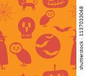 halloween seamless pattern... | Shutterstock .eps vector #1137033068