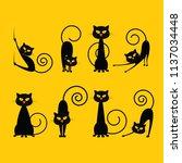 halloween elements. black cats. ... | Shutterstock .eps vector #1137034448