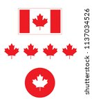 vector canadian flag and icons | Shutterstock .eps vector #1137034526