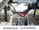 obsolete railway coupler of the ... | Shutterstock . vector #1137038906