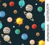 solar system vector seamless... | Shutterstock .eps vector #1137041579