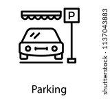 a car standing in a parking lot ... | Shutterstock .eps vector #1137043883