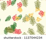 tropical background. green ... | Shutterstock .eps vector #1137044234