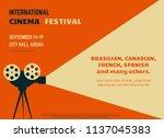 retro style international movie ... | Shutterstock .eps vector #1137045383