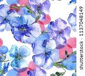 blue flax flower. floral... | Shutterstock . vector #1137048149