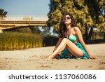 hot sexy brunette in a...   Shutterstock . vector #1137060086