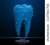 abstract polygonal light tooth... | Shutterstock .eps vector #1137061706
