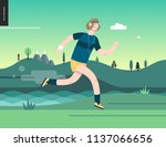 runners   a man running in the... | Shutterstock .eps vector #1137066656