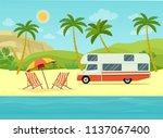 retro camper car trailers... | Shutterstock .eps vector #1137067400