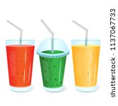 set of juice glasses icons. can ... | Shutterstock .eps vector #1137067733