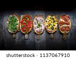 italian cuisine  bruschetta | Shutterstock . vector #1137067910