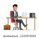 happy business man sit at the... | Shutterstock .eps vector #1137073553