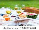 summer picnic basket on the...   Shutterstock . vector #1137079478