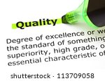 Small photo of Definition of the word Quality highlighted in green with felt tip pen