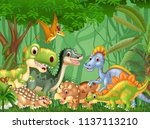 cartoon happy dinosaurs living... | Shutterstock .eps vector #1137113210