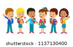 kids boys and girls with bag... | Shutterstock .eps vector #1137130400