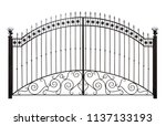 forged gates  with decor. ... | Shutterstock . vector #1137133193