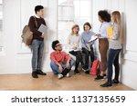 group of students in university ... | Shutterstock . vector #1137135659