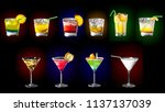 set of coctails   pina colada ... | Shutterstock . vector #1137137039