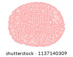 girl power quote. grl pwr hand... | Shutterstock .eps vector #1137140309