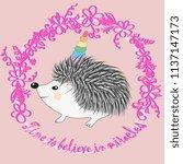 a cute cartoon hedgehog with a... | Shutterstock . vector #1137147173