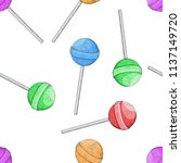 lollipops as seamless pattern.... | Shutterstock .eps vector #1137149720