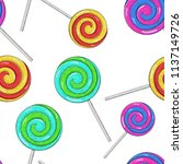 swirl lollipops as seamless... | Shutterstock .eps vector #1137149726