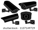cctv security cameras. black... | Shutterstock .eps vector #1137149729