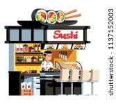 sushi rolls dish   chopsticks... | Shutterstock .eps vector #1137152003