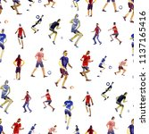 seamless background. soccer... | Shutterstock . vector #1137165416