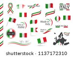 big set of italian ribbons ... | Shutterstock .eps vector #1137172310