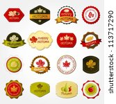 collection of autumn labels   Shutterstock .eps vector #113717290
