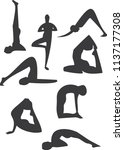 yoga pose silhouettes | Shutterstock .eps vector #1137177308