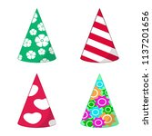 set of paper holiday caps ... | Shutterstock .eps vector #1137201656
