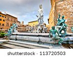 famous fountain of neptune on...