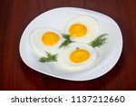 Fried Three Eggs Served Dill