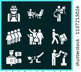 set of 9 people filled icons... | Shutterstock . vector #1137213026