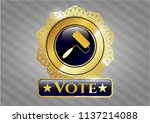 gold badge or emblem with... | Shutterstock .eps vector #1137214088