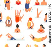 people on a beach. swimming and ... | Shutterstock .eps vector #1137214490
