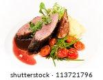 glazed duck fillet  mashed... | Shutterstock . vector #113721796